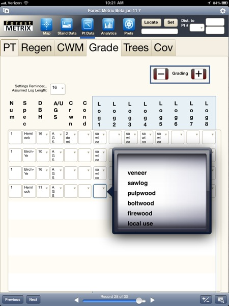 Forest Metrix enables users to grade trees