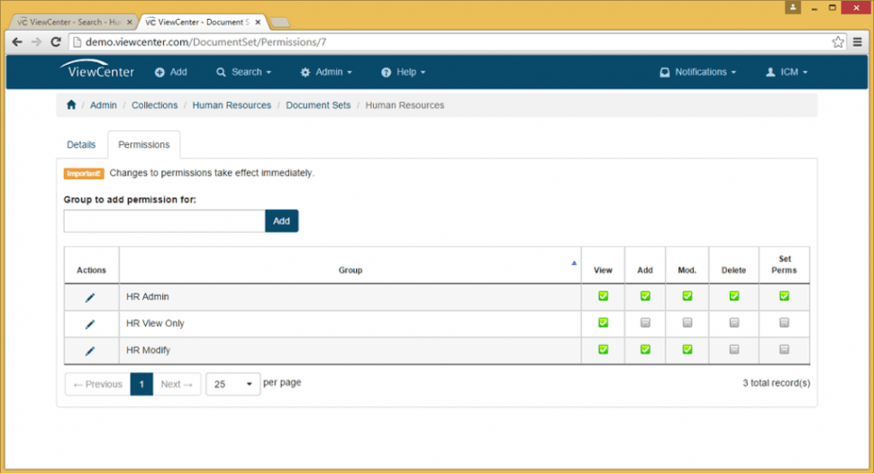 ViewCenter Software - User permissions