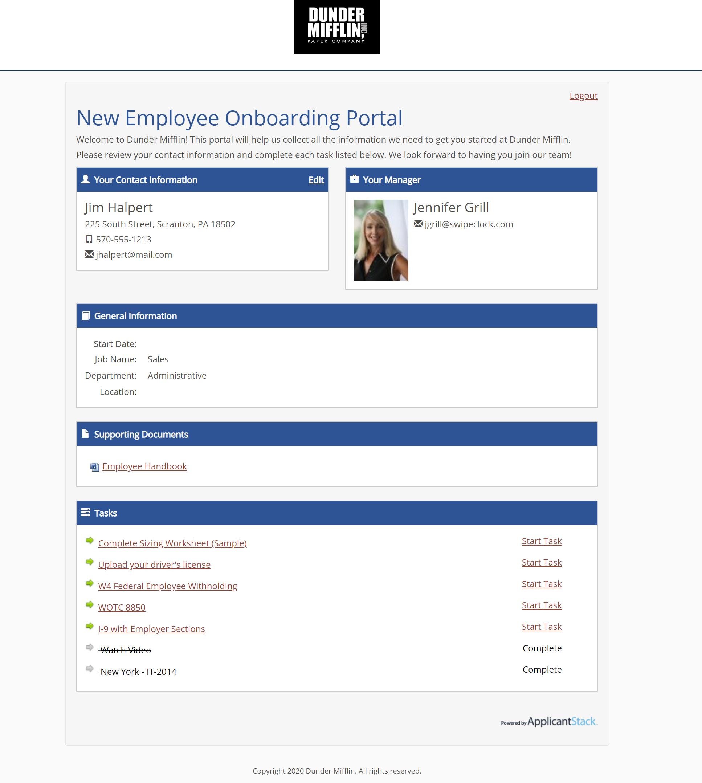 ApplicantStack Software - ApplicantStack hire portal (Onboarding)