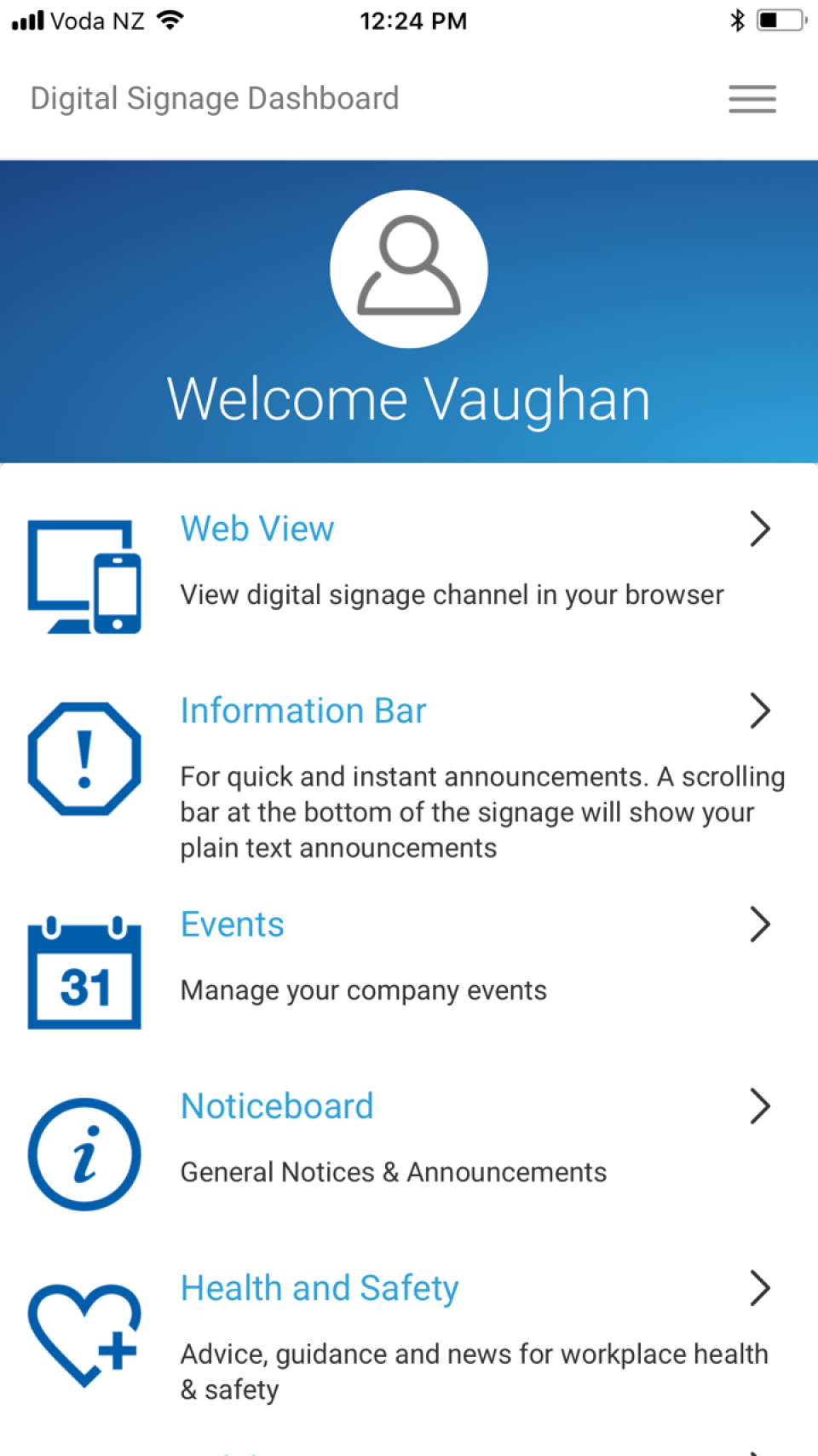 Access Contegro's digital signage dashboard remotely via mobile device