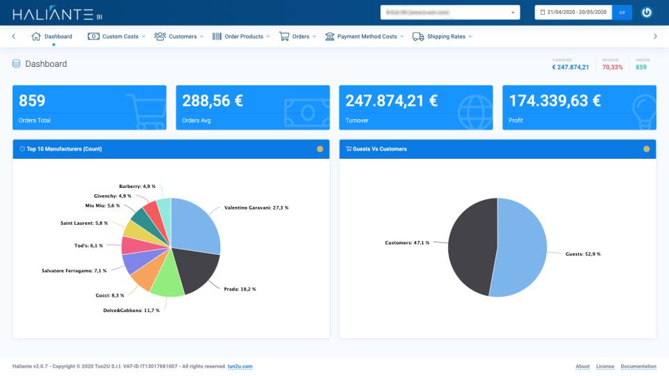 Haliante screenshot: Haliante dashboard