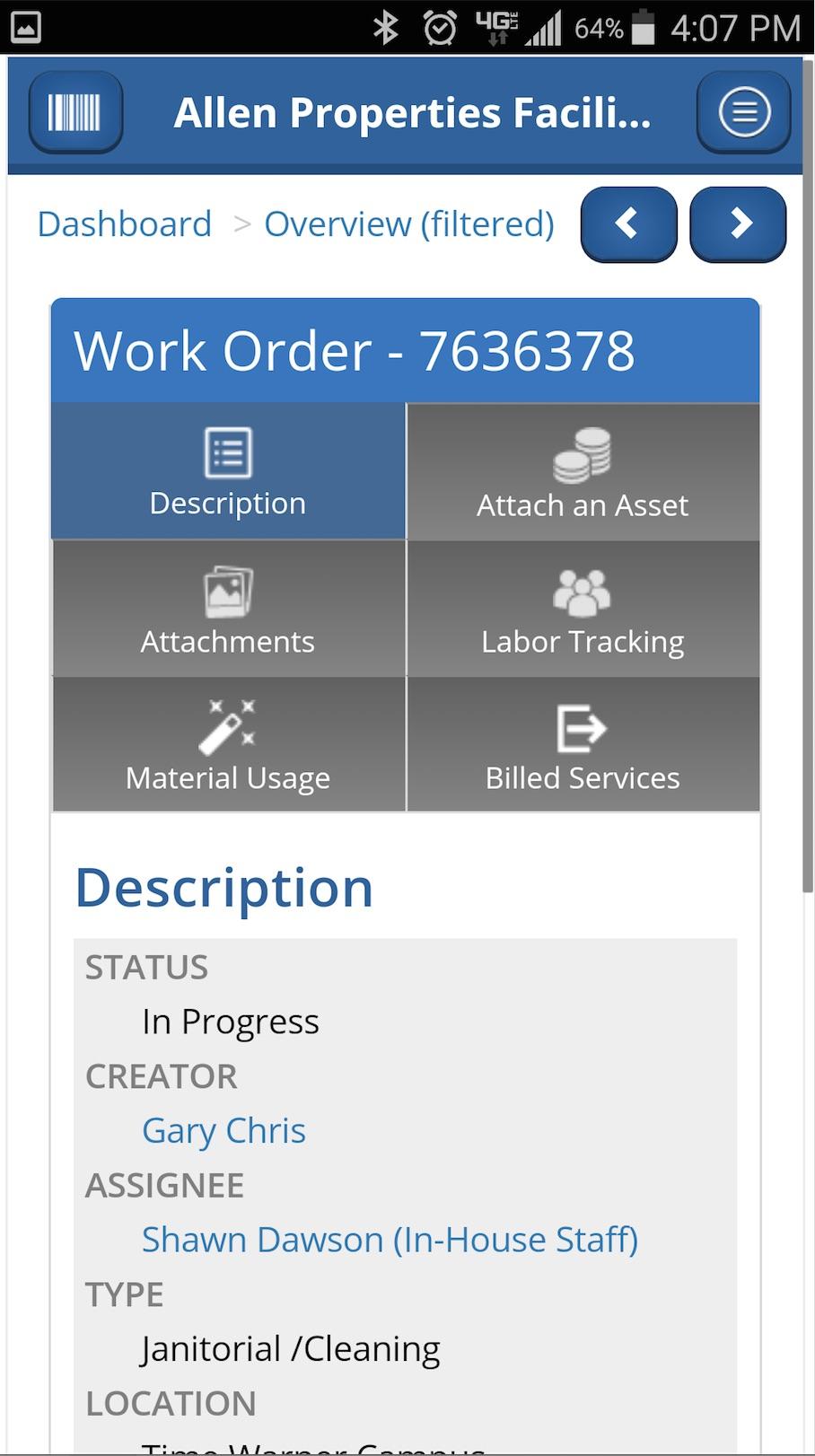 NetFacilities work order