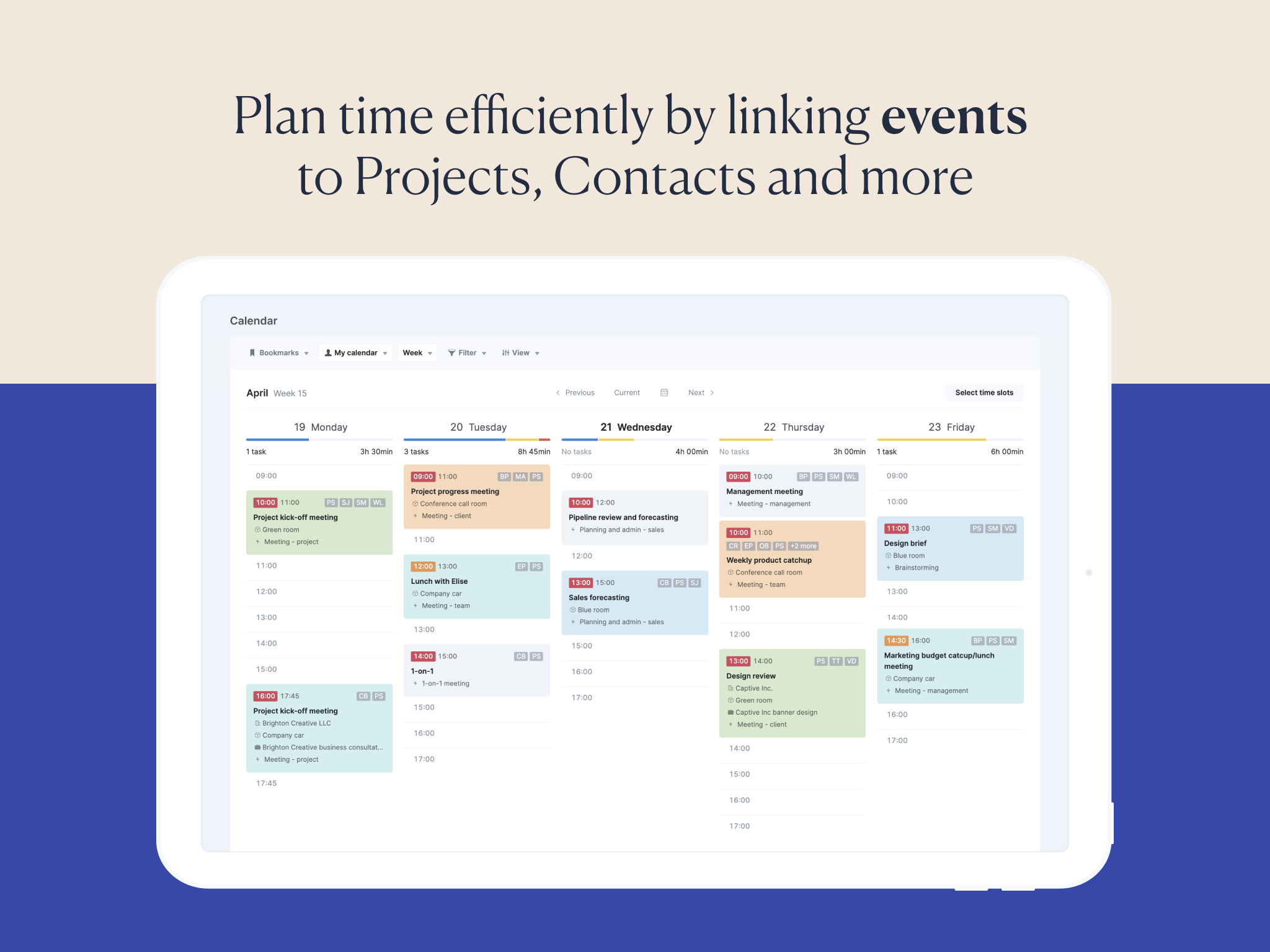 Scoro Software - Detailed Calendar