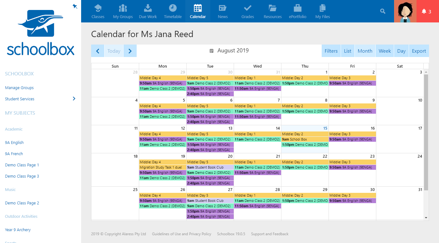 Never miss a beat! Integrated timetables for students, parents, and teachers to see classes, due work, meetings, and more!
