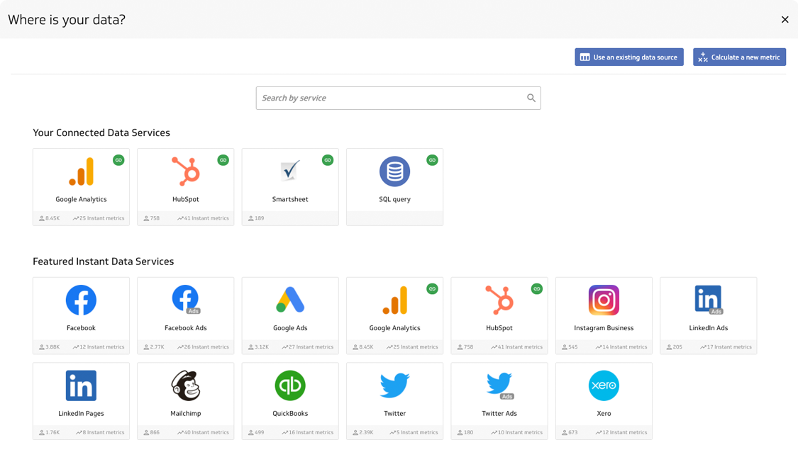 Easily add new metrics from hundreds of services, databases, and apps with no code