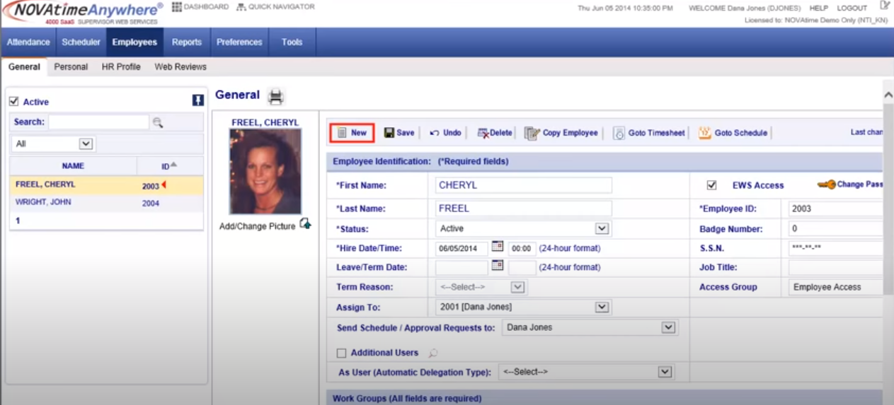 NOVAtime employee profile creation