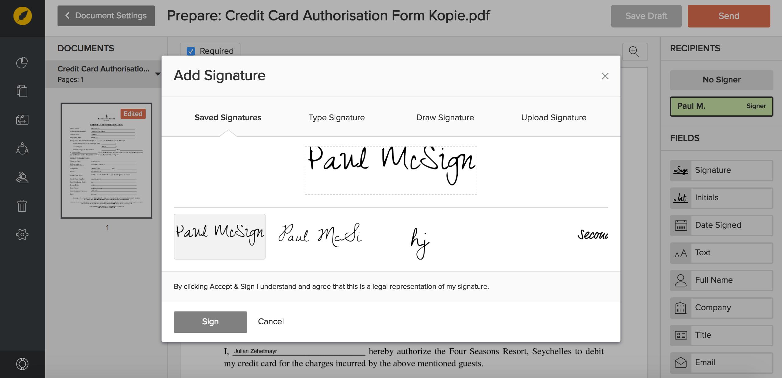 Add signature