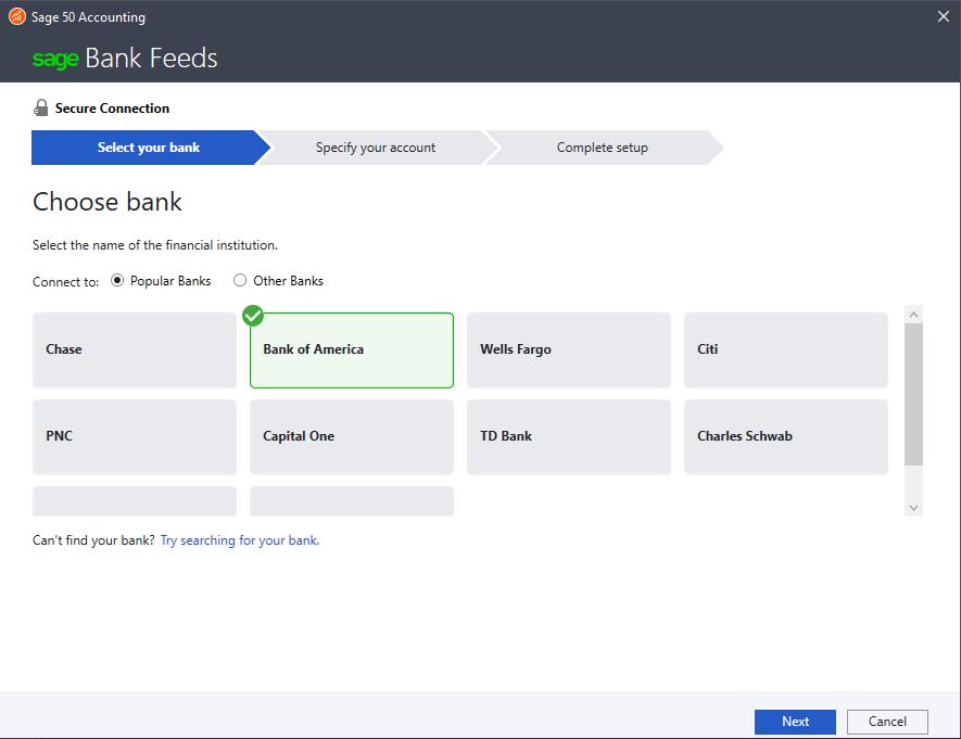 Sage 50cloud Software - Bank feeds