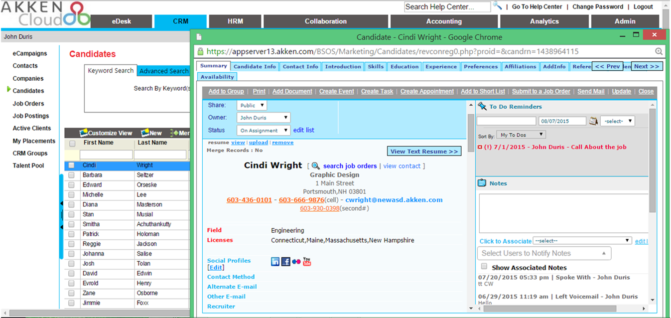 AkkenCloud screenshot: AkkenCloud's candidate section lets users view and manage all candidate information