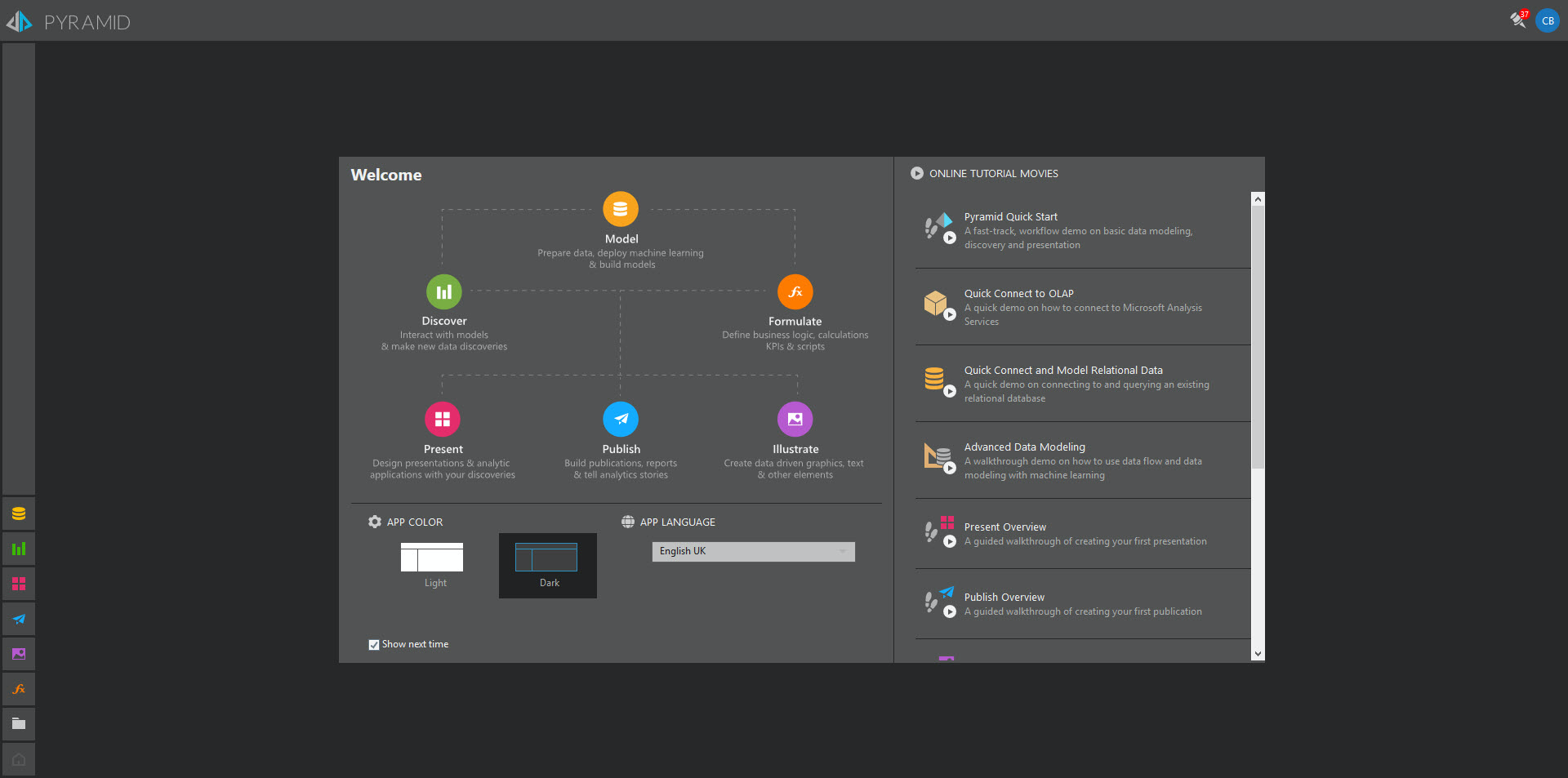 Home screen where users can access all modules, shared content, and adminstrative controls.