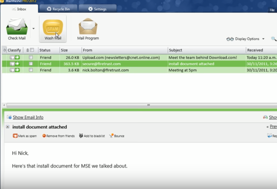 MailWasher spam blocker screenshot