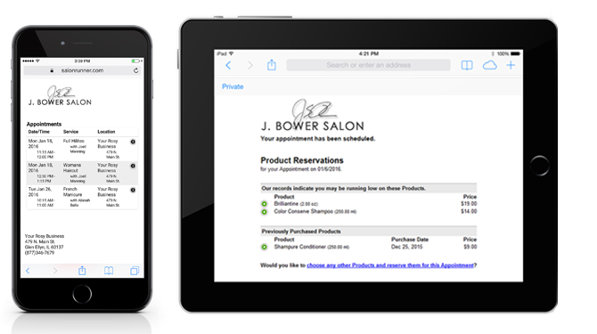 View product reservation invoice on smartphones and tablets with Rosy