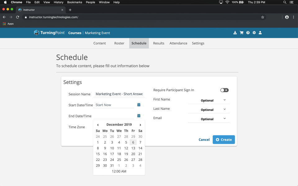 TurningPoint scheduling