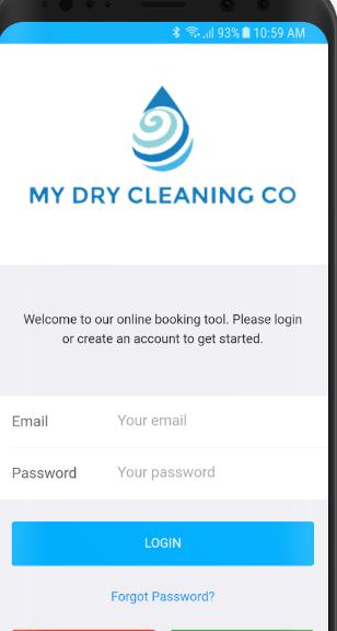 CleanCloud login page