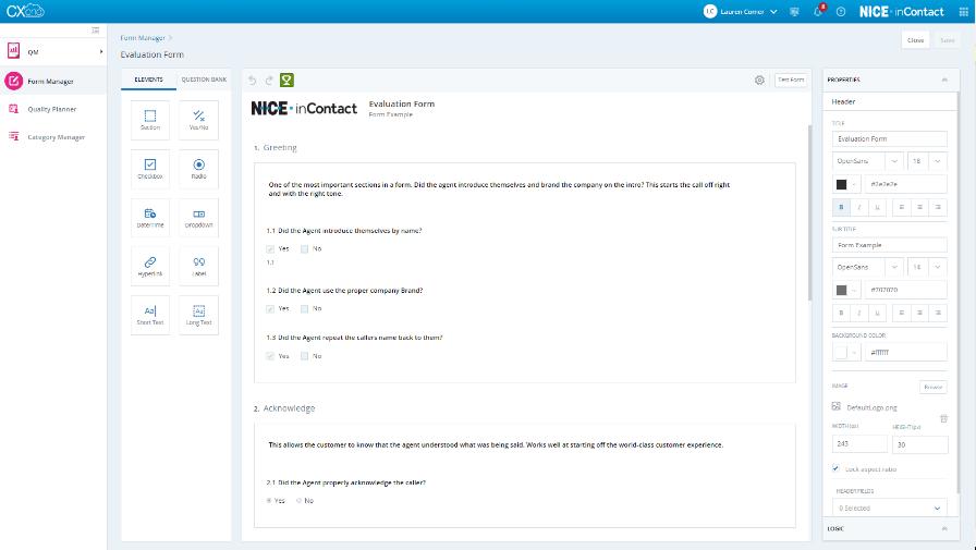 NICE CXone Software - NICE CXone call evaluation form