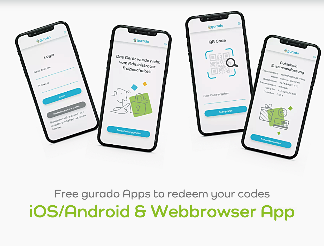 Download the free gurado Apps to enable in-store redemption and checking of the vouchers/customer cards.