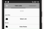 Timeero screenshot: Employees can clock in and out of jobs with the click of a button