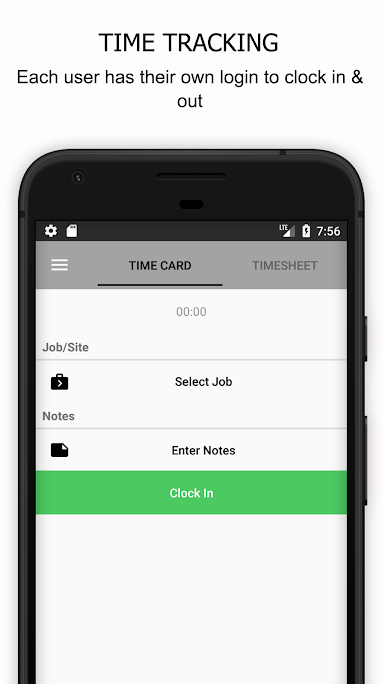 Employees can clock in and out of jobs with the click of a button