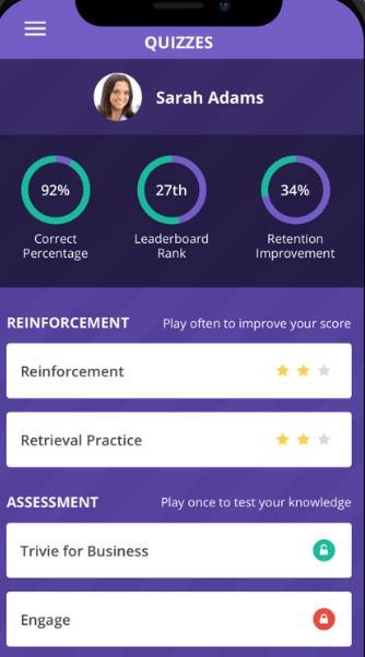 Trivie learner profile screenshot