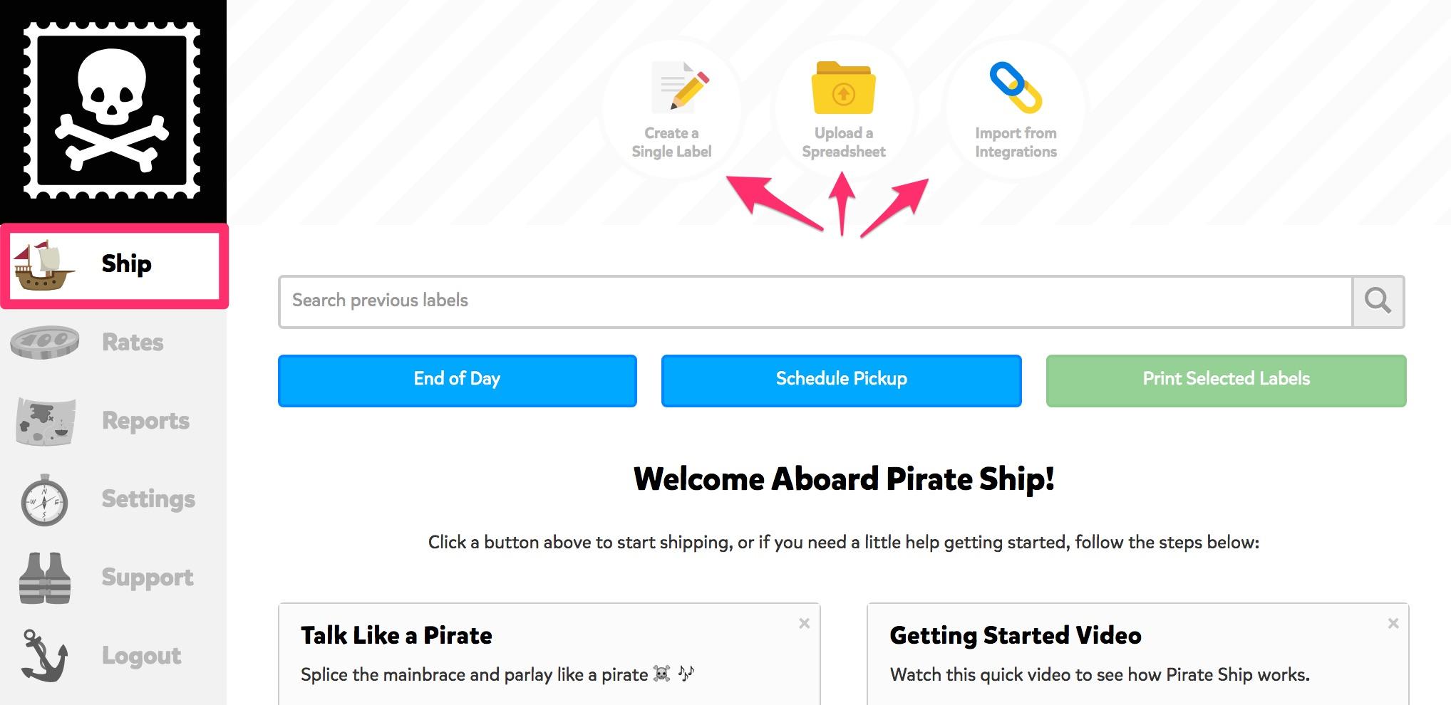 Pirate Ship dashboard