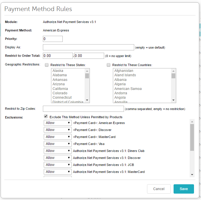 Payment method rules