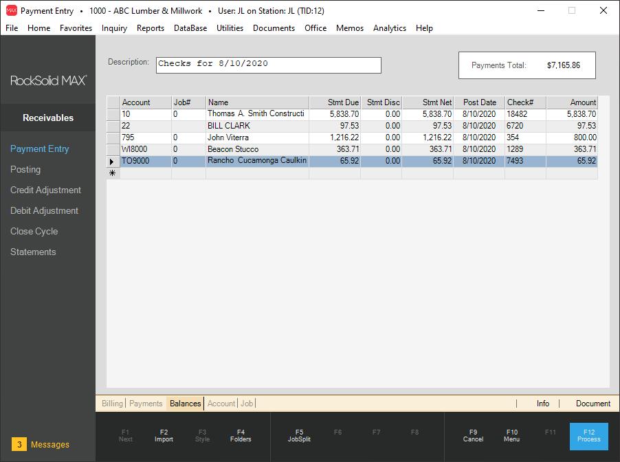 RockSolid MAX Software - Receivables