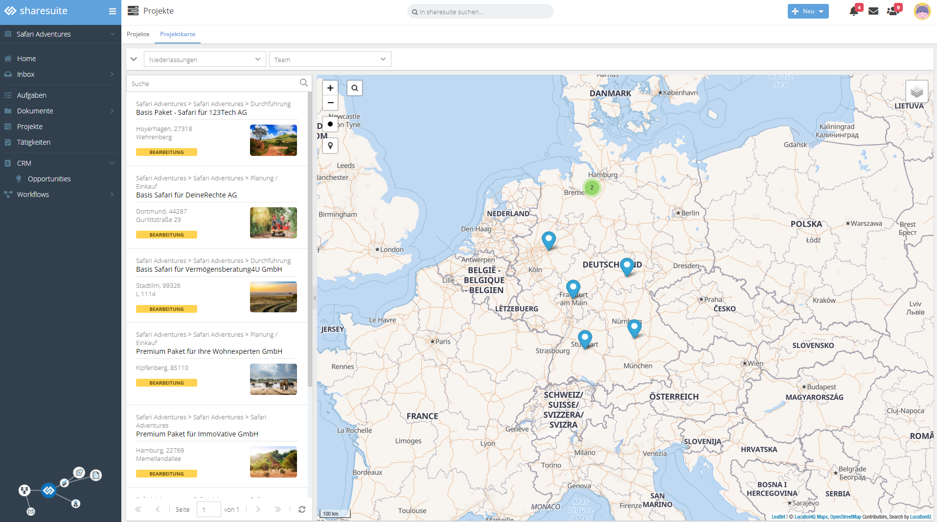 The project map visualizes project information and its interrelationships.