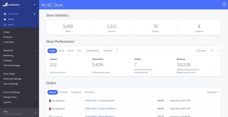 BigCommerce Software - BigCommerce - store statistics