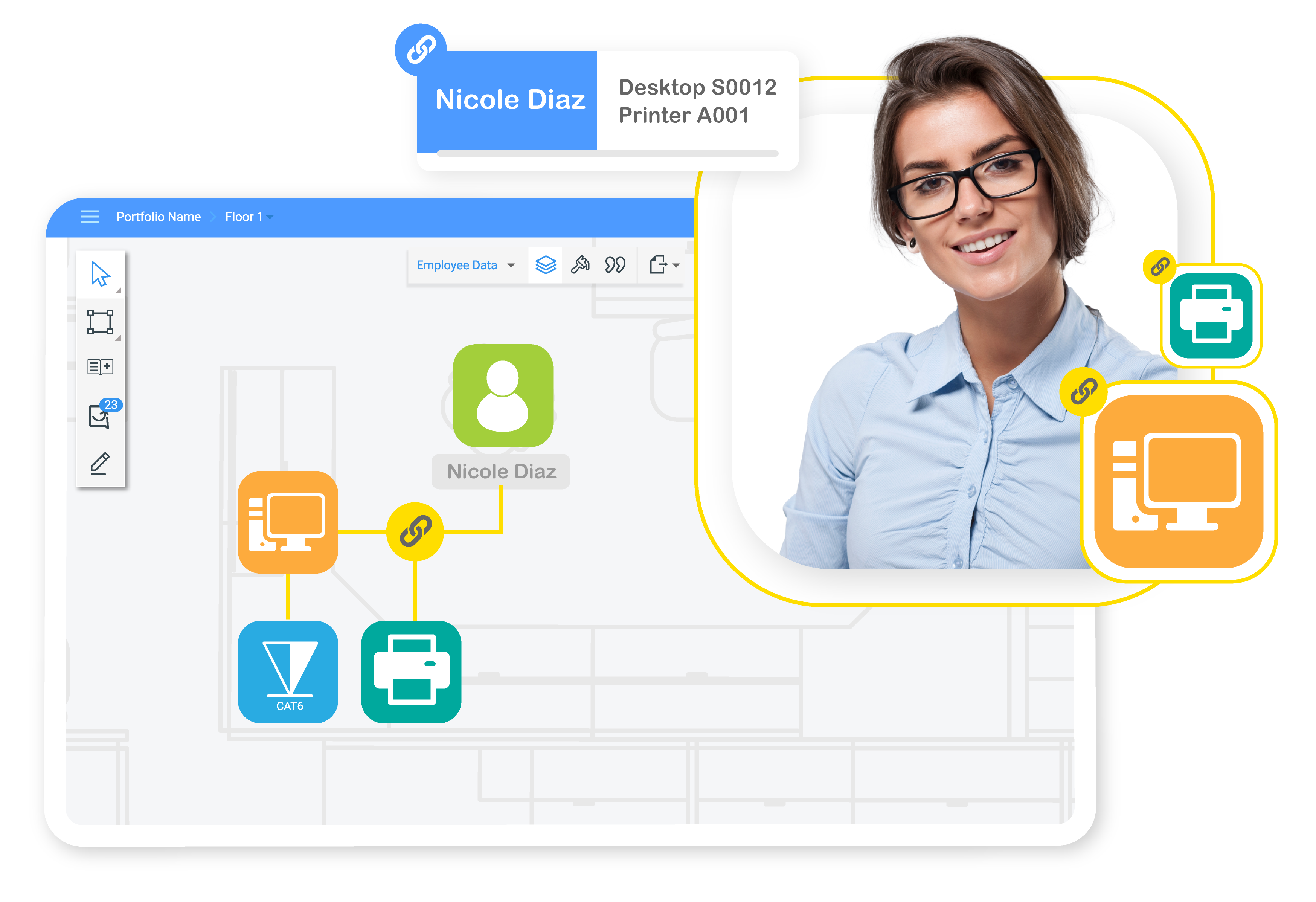 SpaceRunner Software - Links represent connections among people or objects, helping you get visual insights instantly.