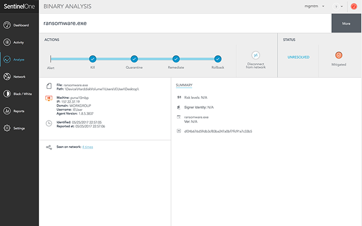 After stopping attacks, quickly rollback modifications and auto-immunize endpoints