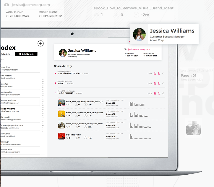 Paperflite screenshot: Get meaningful insights in real-time, and know effectiveness. Marketers and sales reps can see exactly how effective their content is in the sales process and use that insight to fine-tune their content strategy for new prospects.