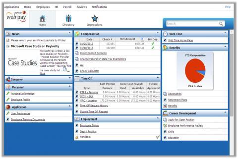 Paylocity screenshot: Paylocity- Home Screen
