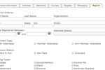 AMO screenshot: Event registration reports available along with badge and label maker tools