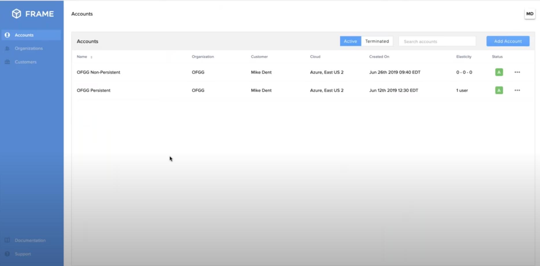 Frame accounts list
