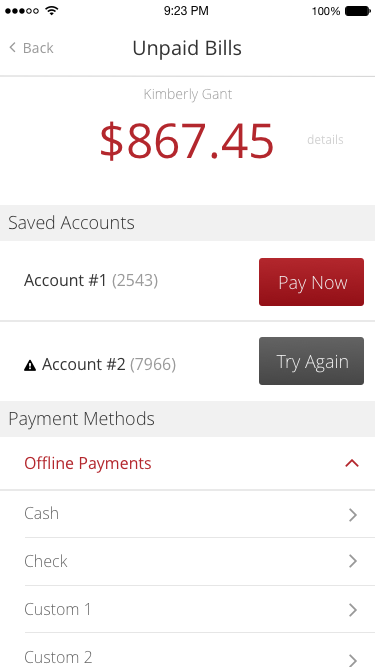 If a member has an unpaid bill, you can have them make a payment within the App