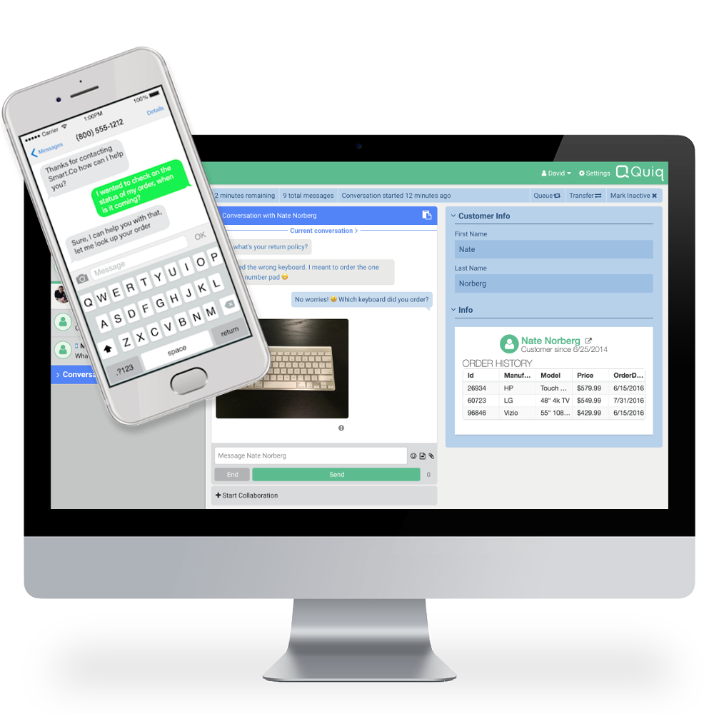 Quiq Messaging screenshot: Customers engage over their most used messaging channels, SMS/Text, FB Messenger, Kik, and are automatically routed to the Quiq agent desktop