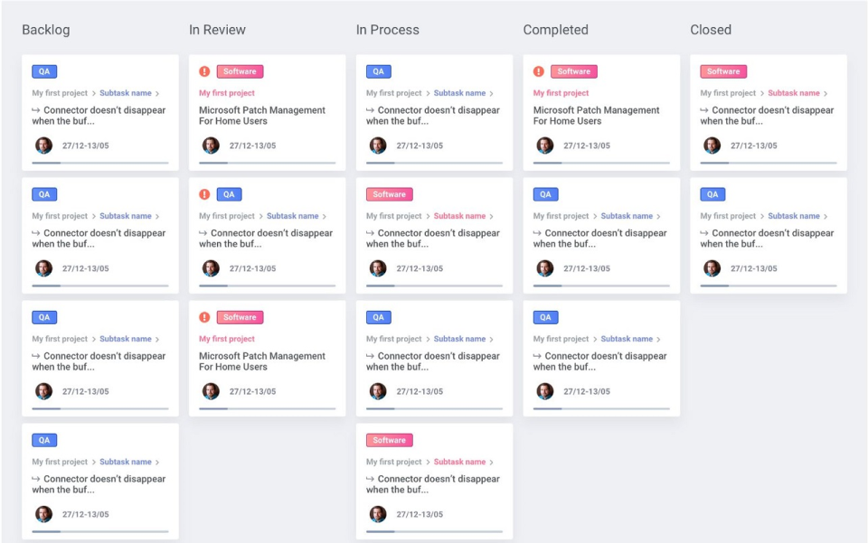 All tasks can be displayed in a Kanban board view