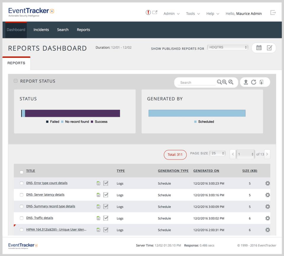 EventTracker: Custom reports