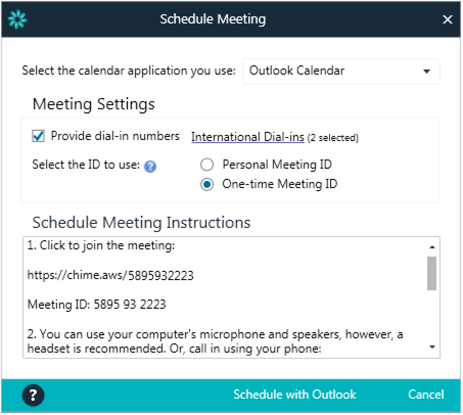 Dial-in numbers can be provided, enabling participants to call in to meetings from more than 70 countries