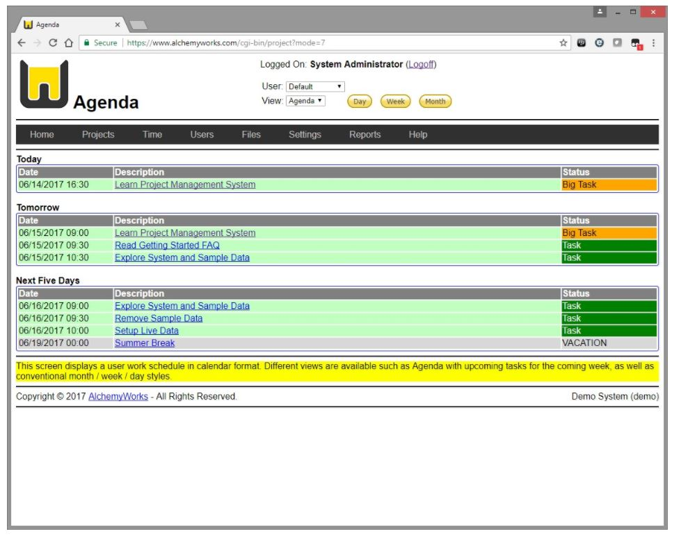 View agenda by date