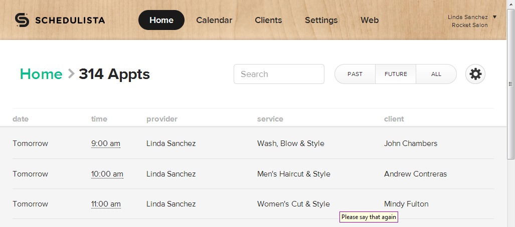 View all appointments and do a live search