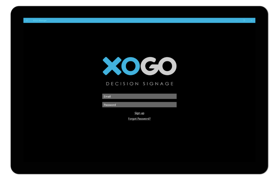 Log-in securely to XOGO decision signage with an email and password