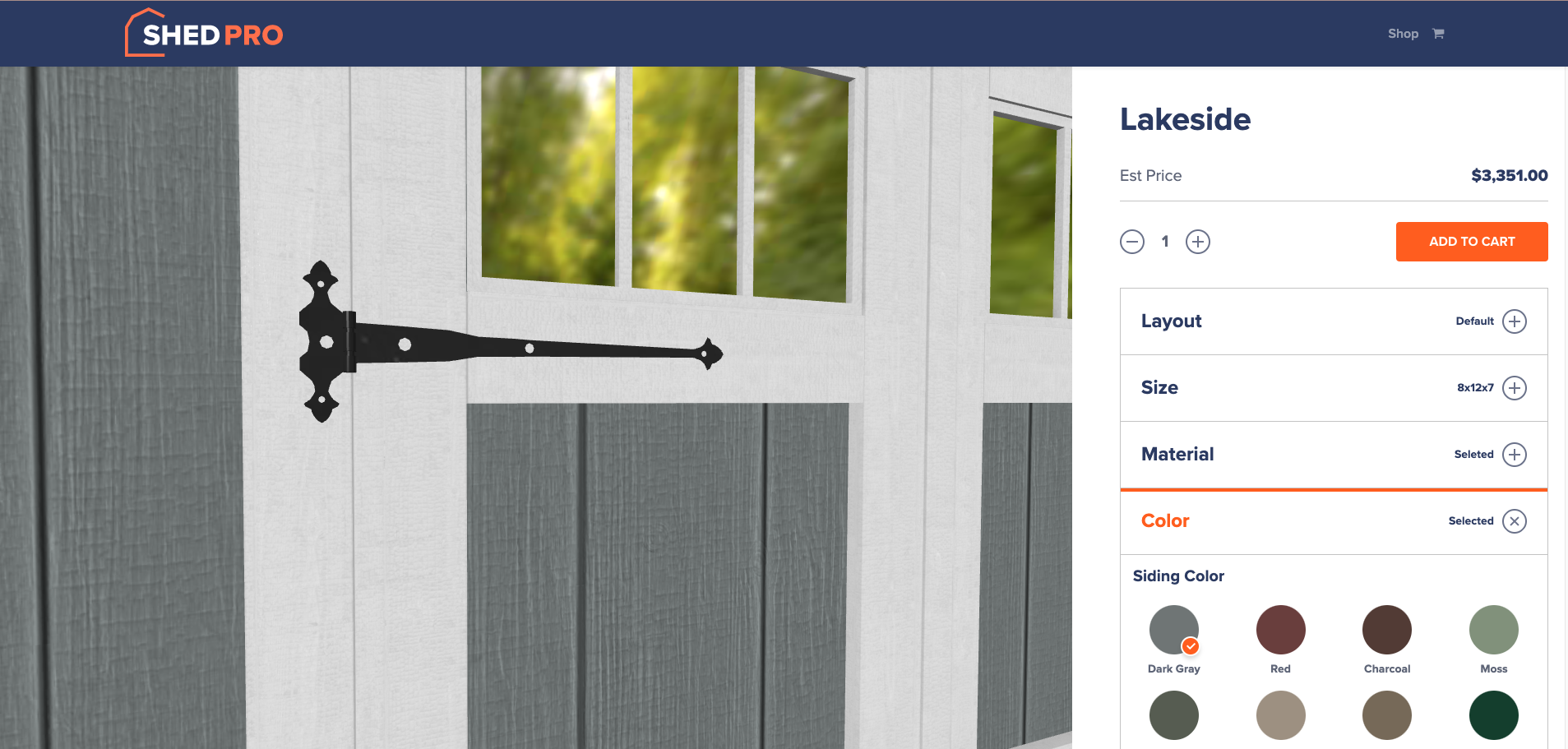 ShedPro shed color configurator