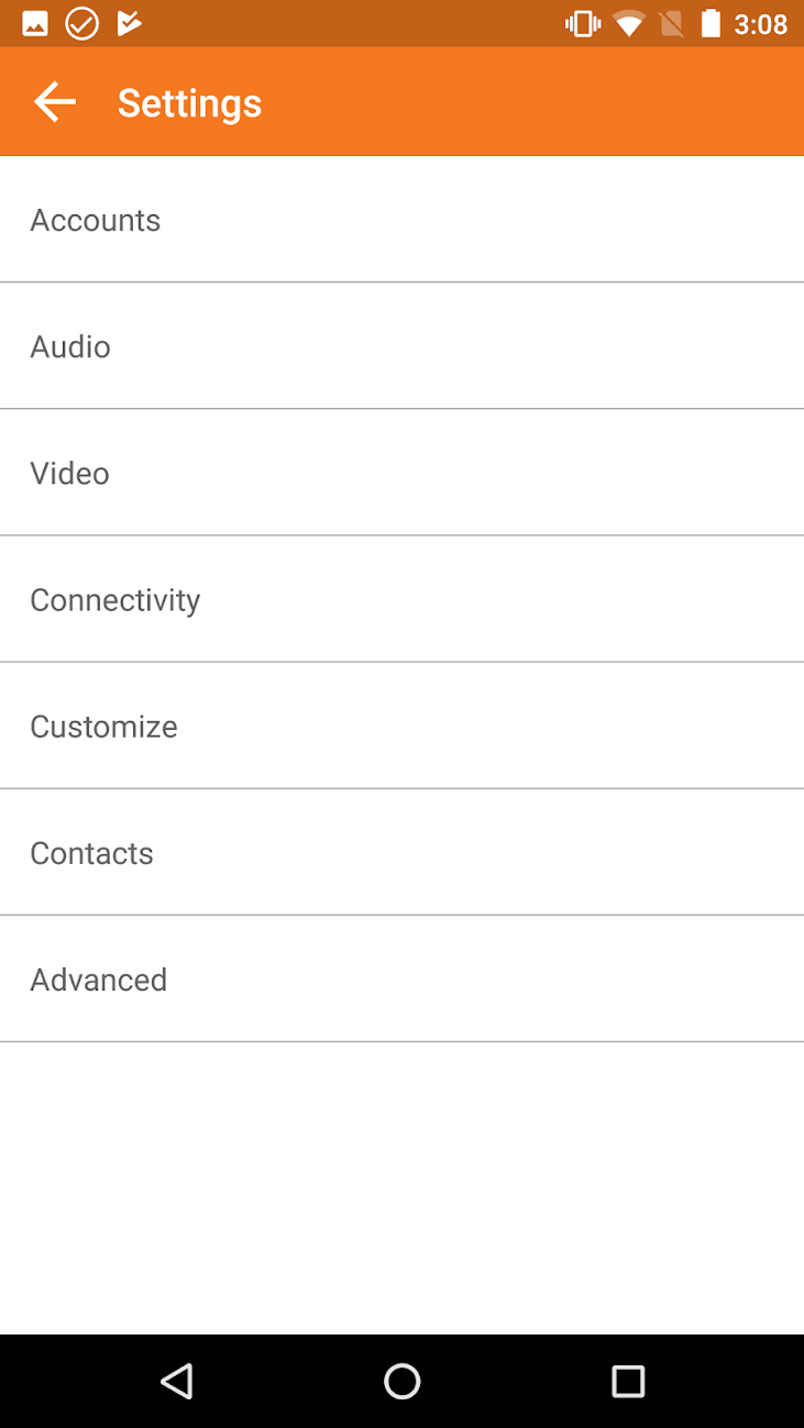 The settings menu on Zoiper Pro for Android, giving access to accounts, audio / video, connectivity, customization options, contacts and more