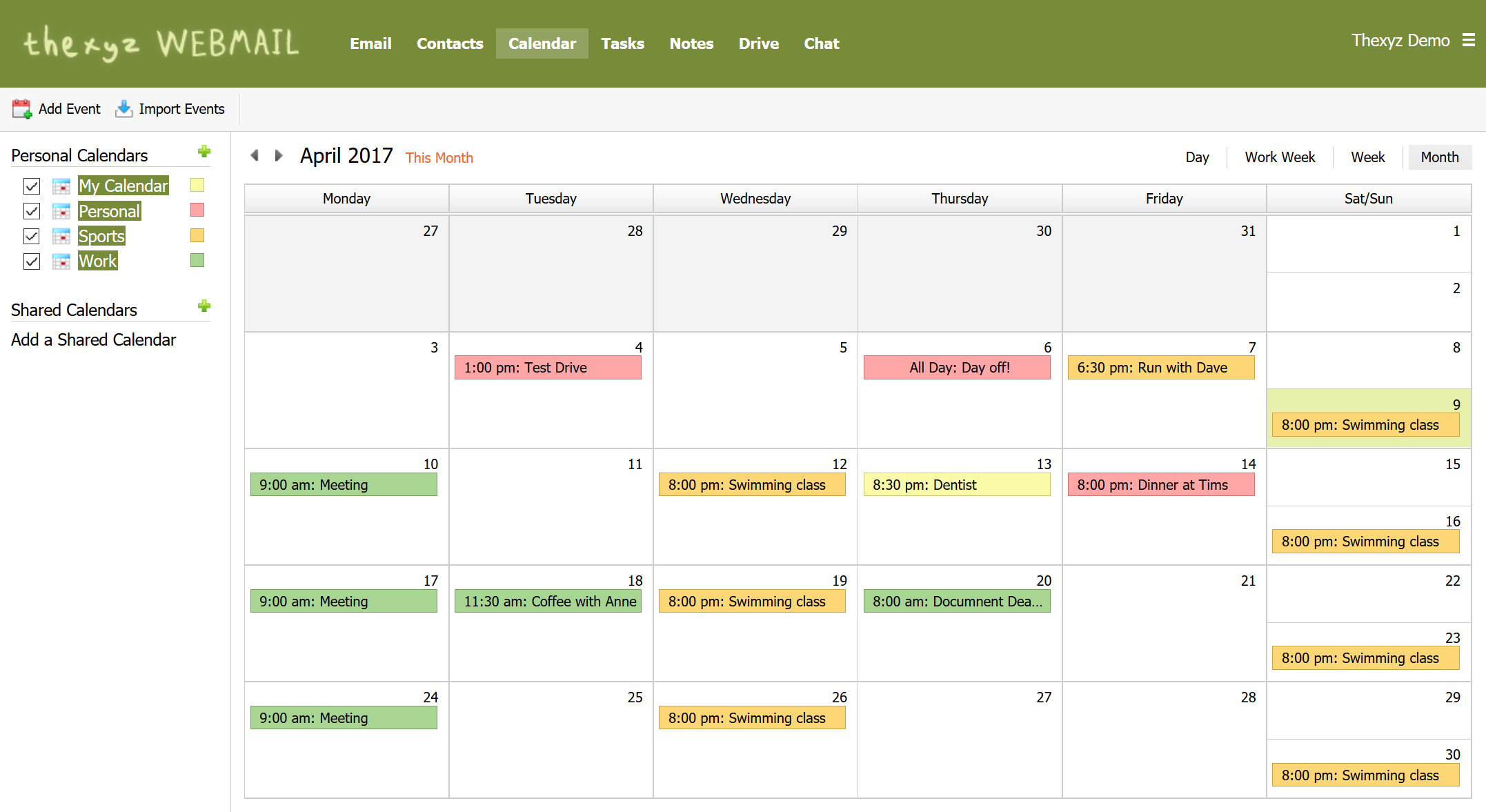 Thexyz Webmail calendar