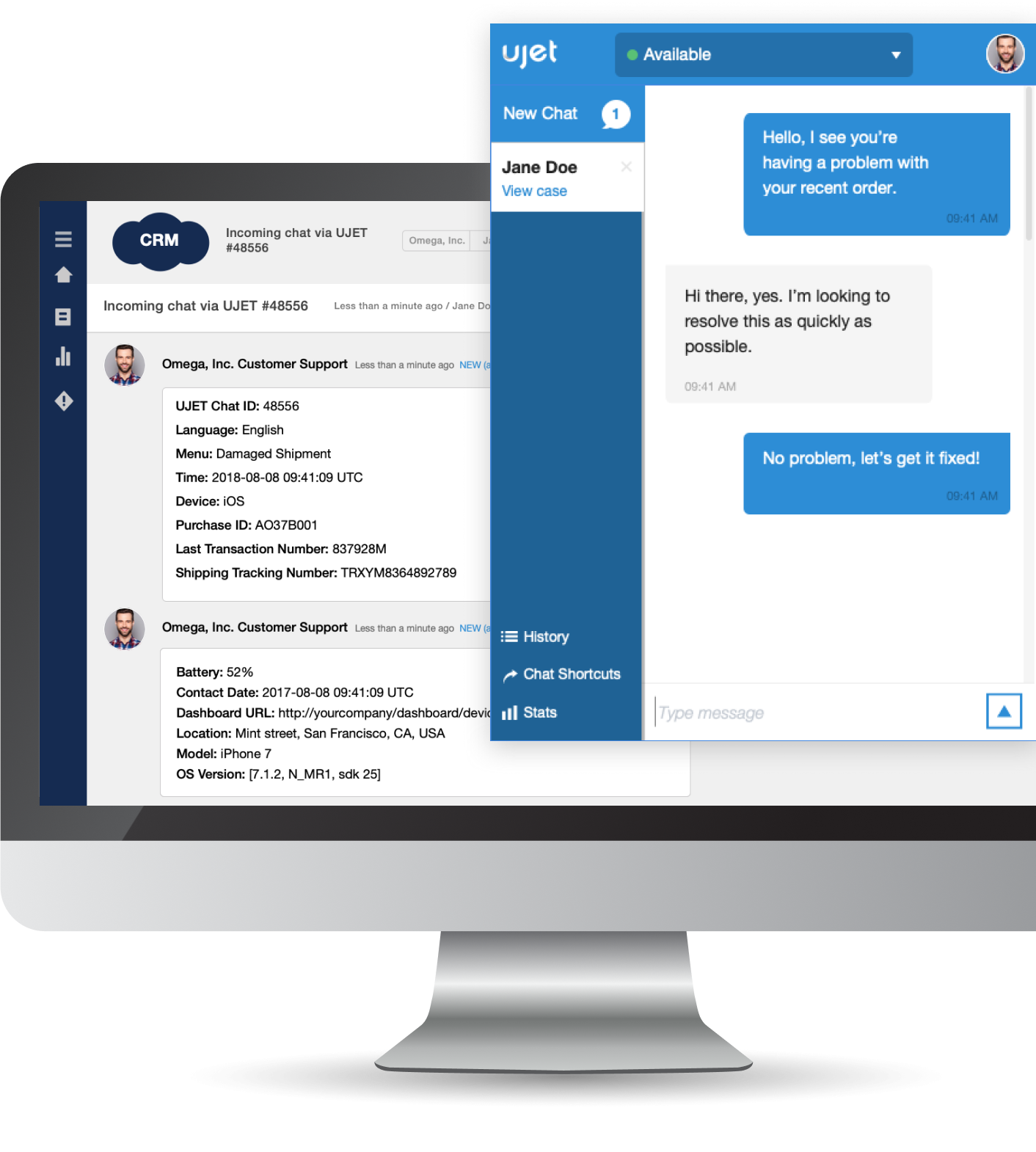 UJET agent's chat view