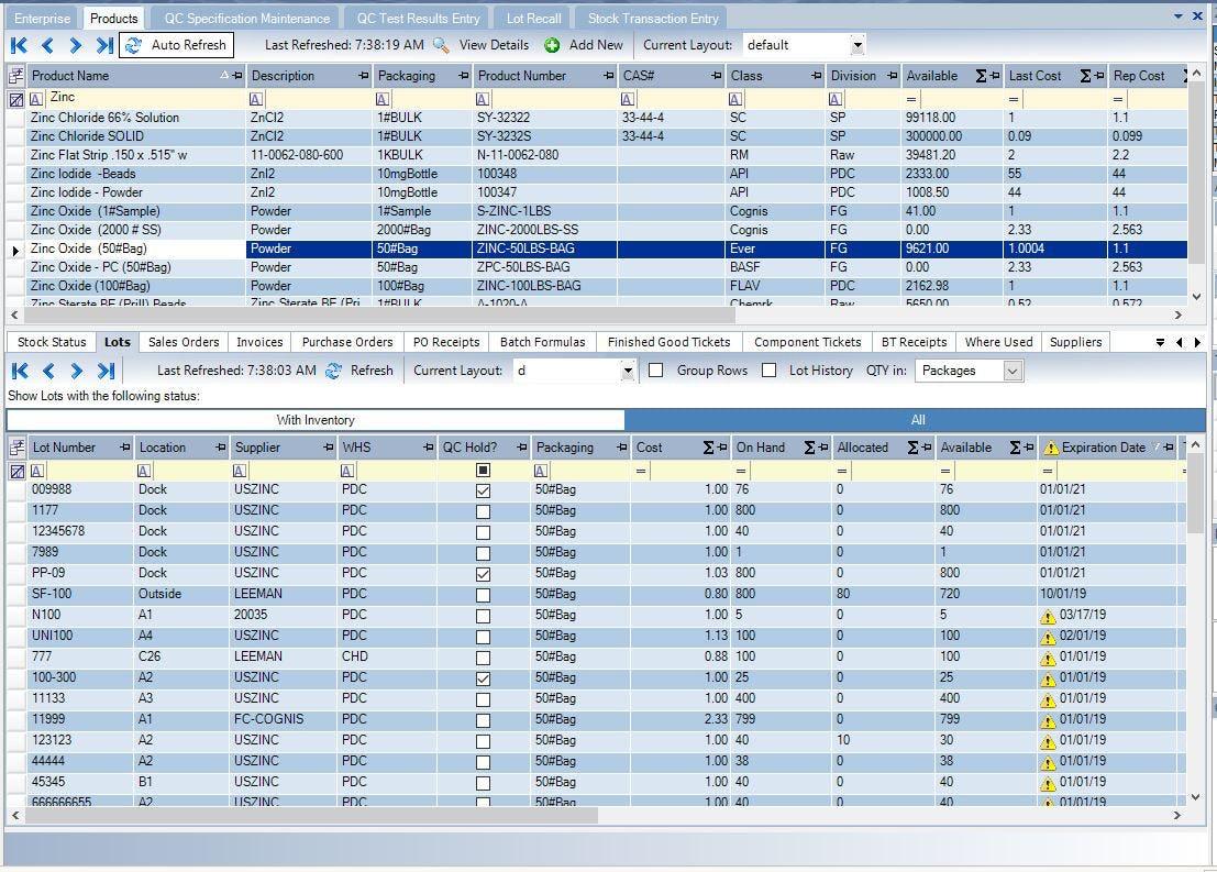 Datacor ERP Software - Inventory