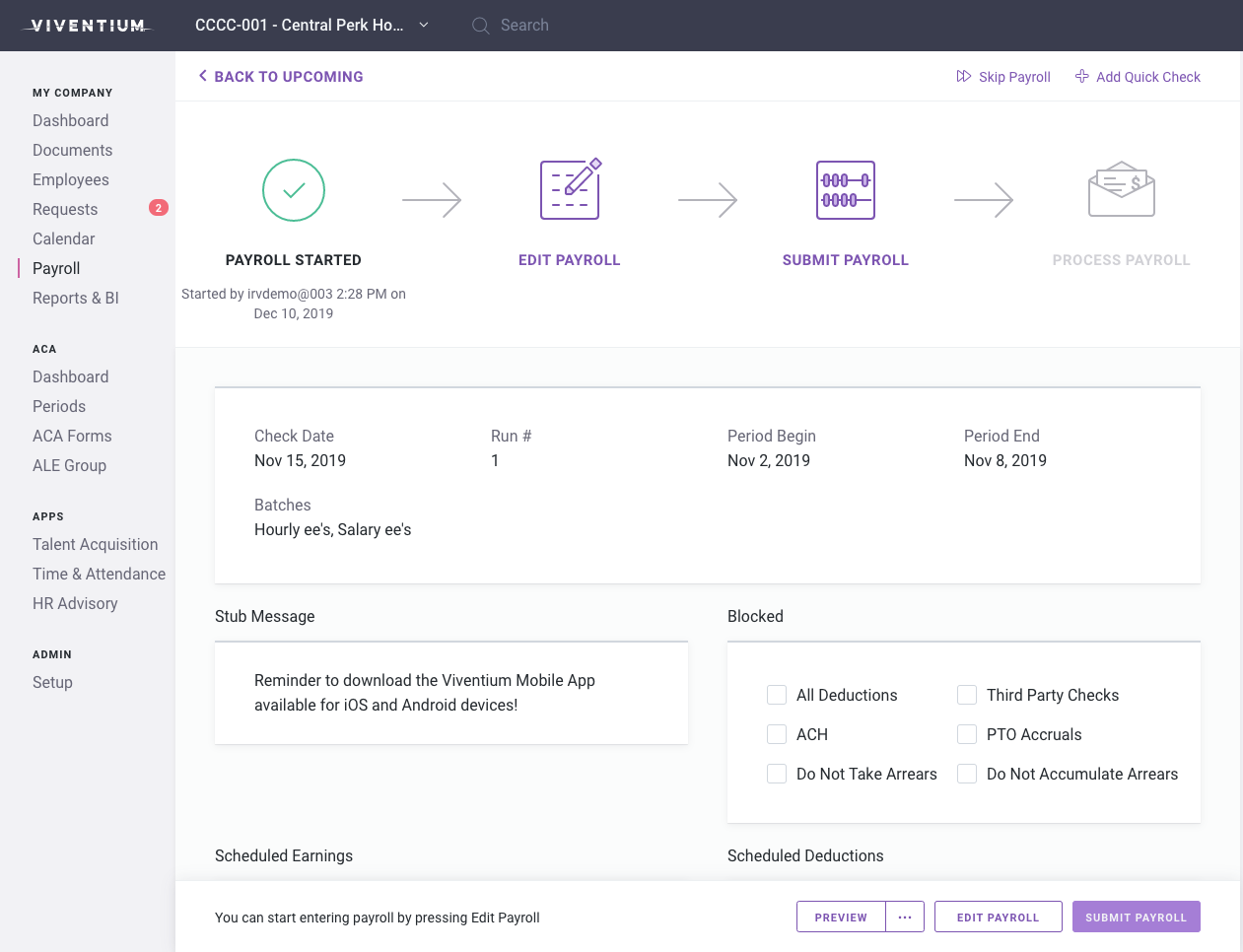 Viventium Software Software - Payroll