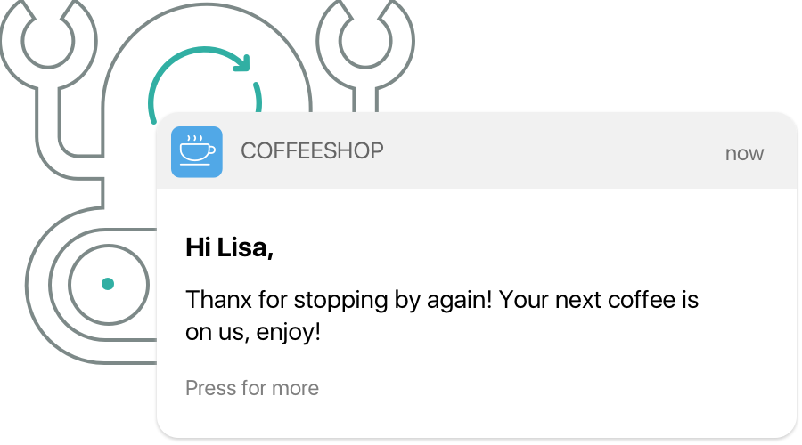 Automatic push notifications can be scheduled after a purchase to encourage customer loyalty