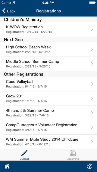 Members can register for events online through TouchPoint's app